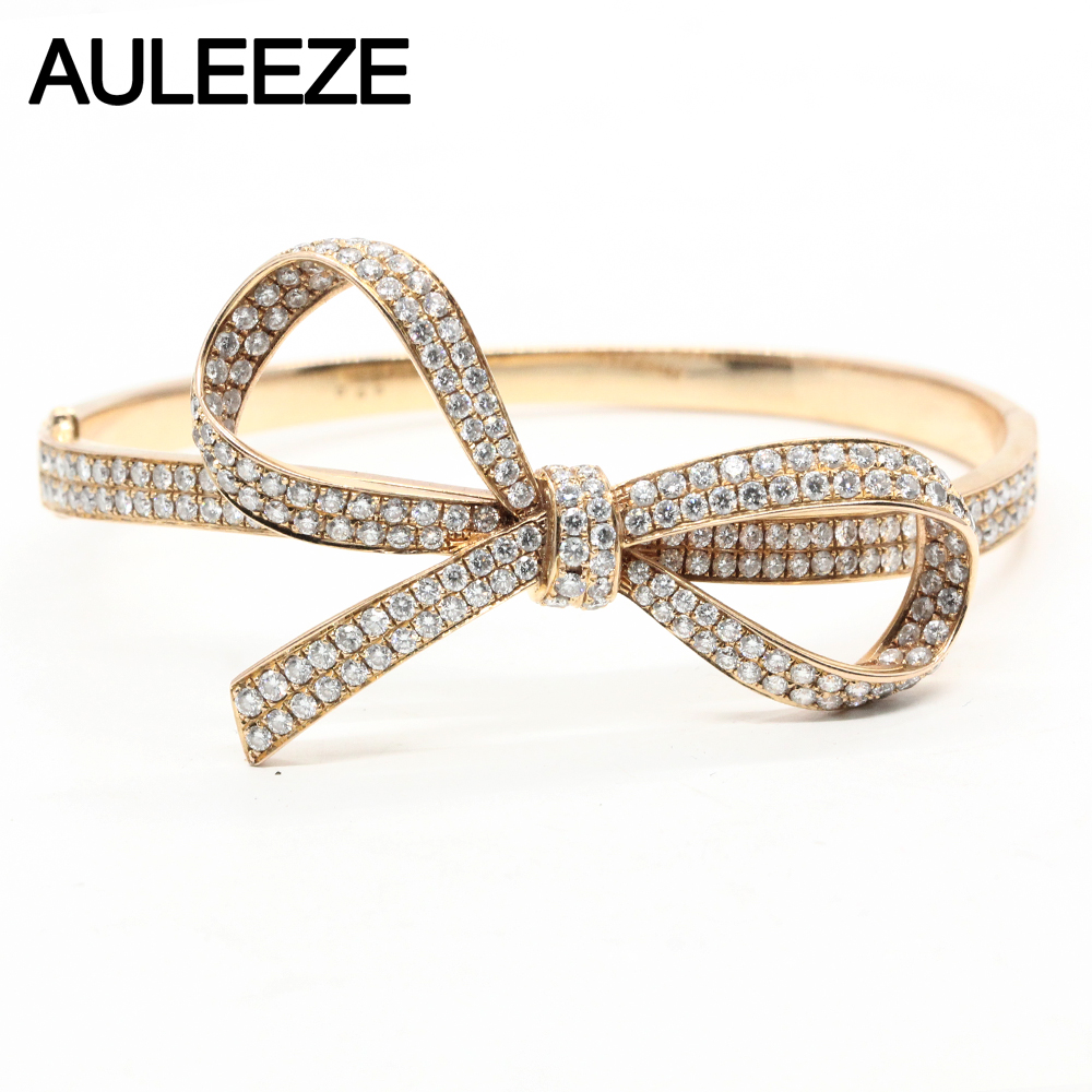 Real 18K Yellow Gold Diamond Bangle Unique Bowknot Shape Simulated Diamond Wedding Bangles For Women Fine Jewelry Gifts