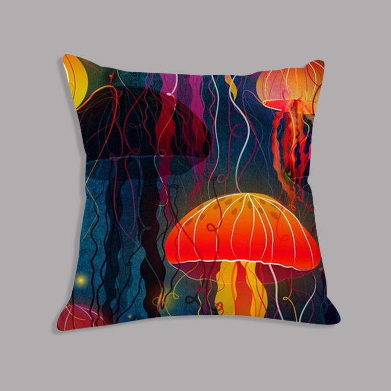 Watercolor Jellyfish Printed Soft Cushion Throw Pillows Plush Cushion Decorative Cushion For Sofa Car Home Decor