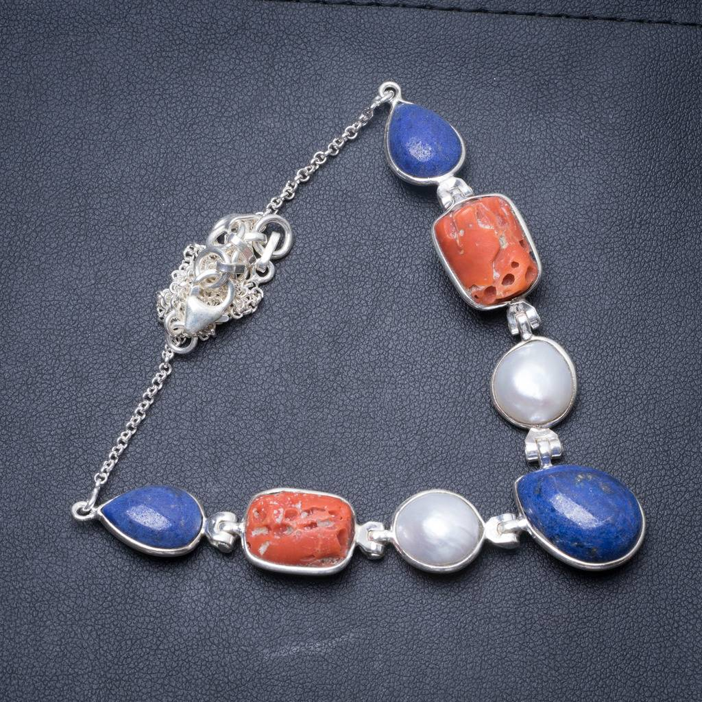 Lapis Lazuli,Natural Hole Red Coral and River Pearl Handmade 925 Sterling Silver Necklace 16.5 Y3498