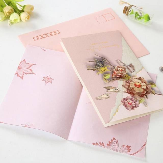 Romantic 3d Flower Thanksgiving Day Greeting Cards Gift Handmade