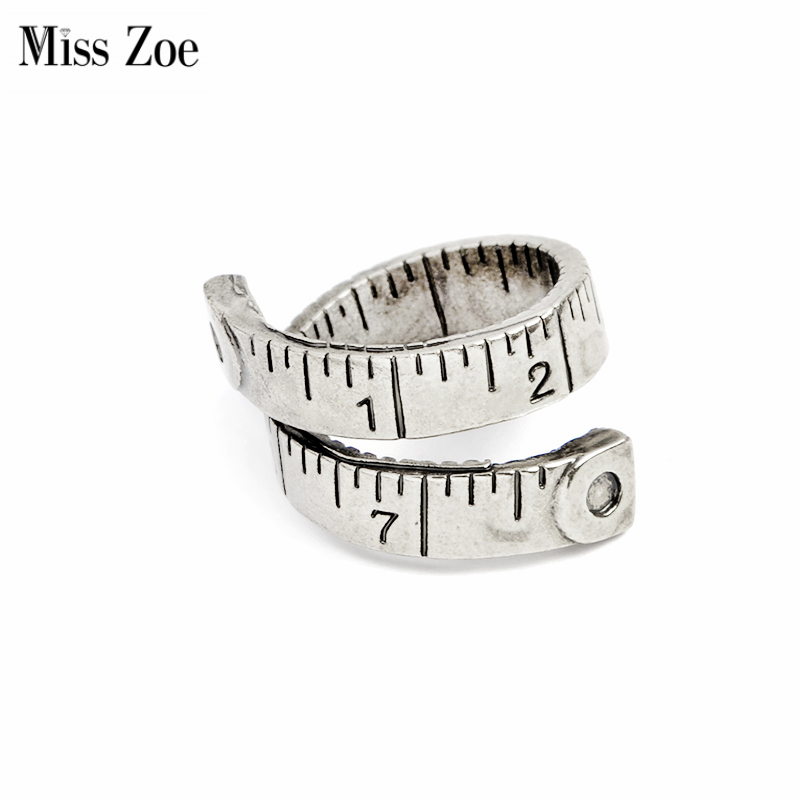 Miss Zoe Love Beyond Measure Twist Ring Opening measuring tape Ring Simple Bronze Antique Silver Jewelry Gift for Women
