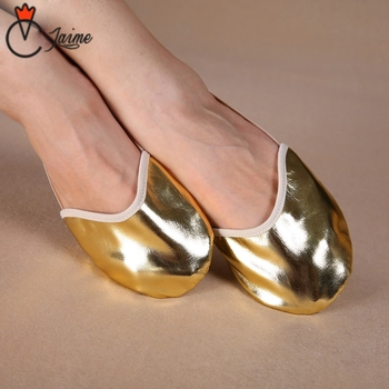 Belly dance fitness exercise shoes Dancewear Ballet Flats Dance Practice Shoes Pads Gold Half for Women