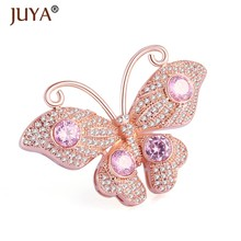 Luxury cubic zirconia crystal rhinestone butterfly pendants for jewelry making diy long pearls necklace pendants decoration(China)