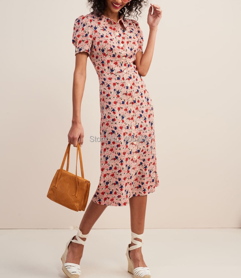 Top Version Pink Floral Print Lapel Front Button Closured Midi Dress With Short Sleeve 2019 Women