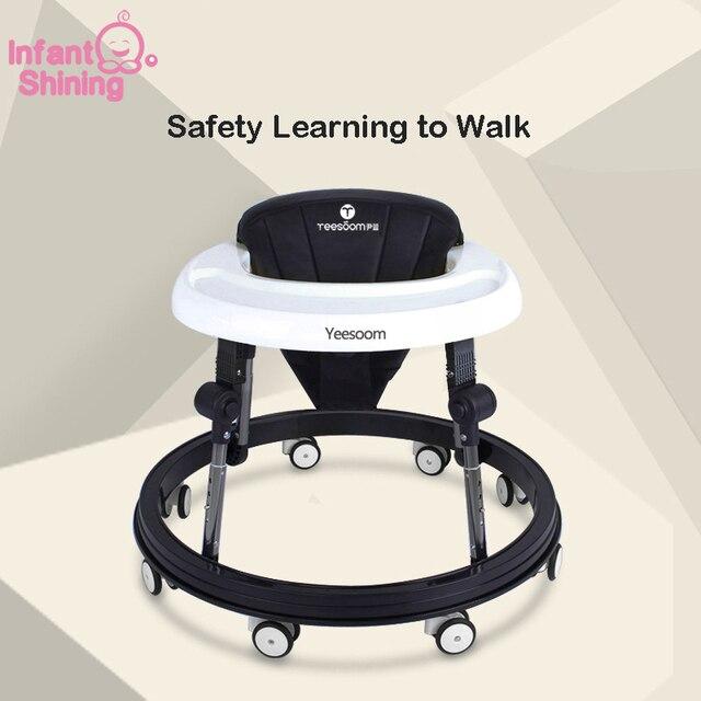 Andador de bebé brillante bebé con 8 ruedas blanco y negro cochecito Andador de bebé 6-18 meses andador asistente