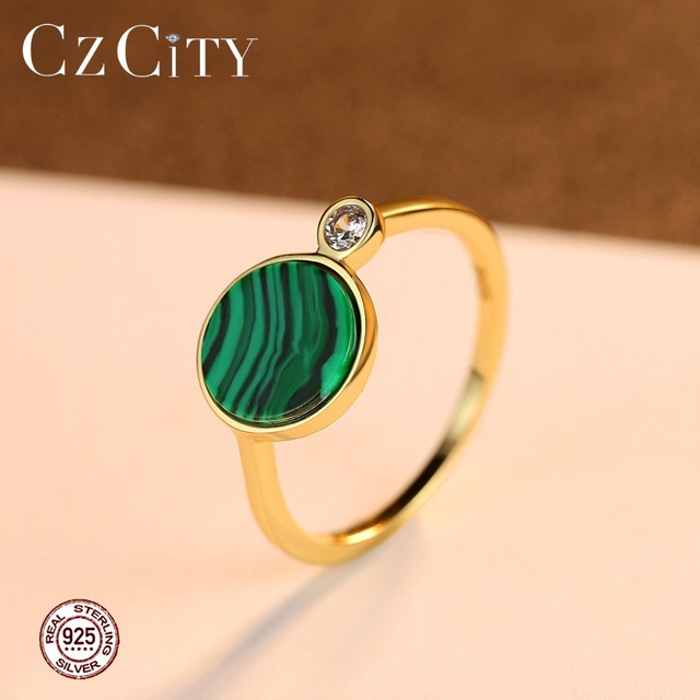 CZCITY 925 Sterling Silver Round Malachite Rings for Women Wedding Party Luxury CZ 18k Plated Green Romantic Female Jewelry Gift