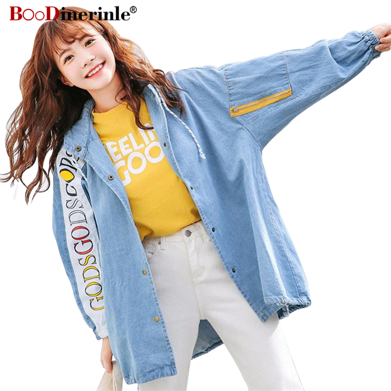 BOoDinerinle Women Cloak Style Loose Print Letter Denim Jacket Spring Batting-sleeve   Trench   Coat Women Harajuku Hooded Jacket