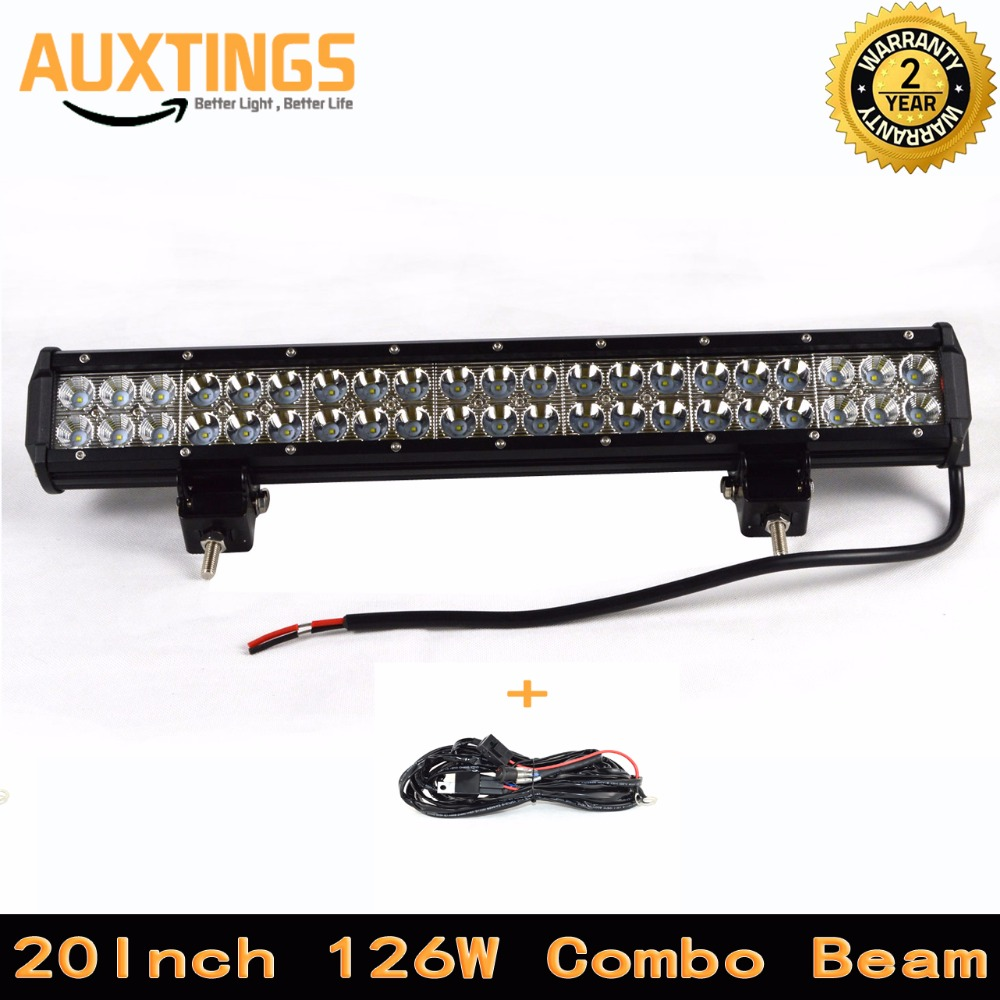 Factory store 12 volt led light bar 20 inch 126watt combo Beam led light bar offroad car led driving light 4x4 4wd