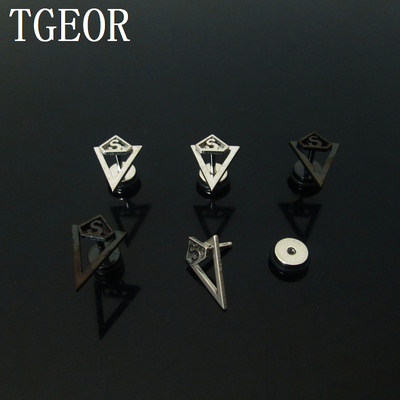 High quality illusion cheaters 1 pair 1.2*6*6/(10*16)mm Stainless Steel anchor with triangle piercing fake plugs NICE image