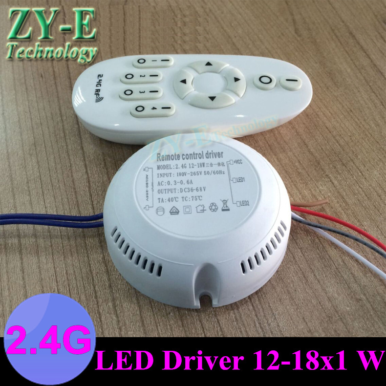 купить hot ! 2 Set 12-18X1W led driver constant current double color driver+2.4G RF Remote controll new design adjust led Transformer онлайн