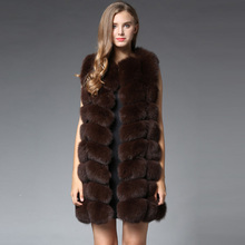 90CM Natural Real Fox Fur Vest New 2016 Winter Long Thick Women Genuine Fur Vest Jacket Pockets Real Fur Vest Coats for Women