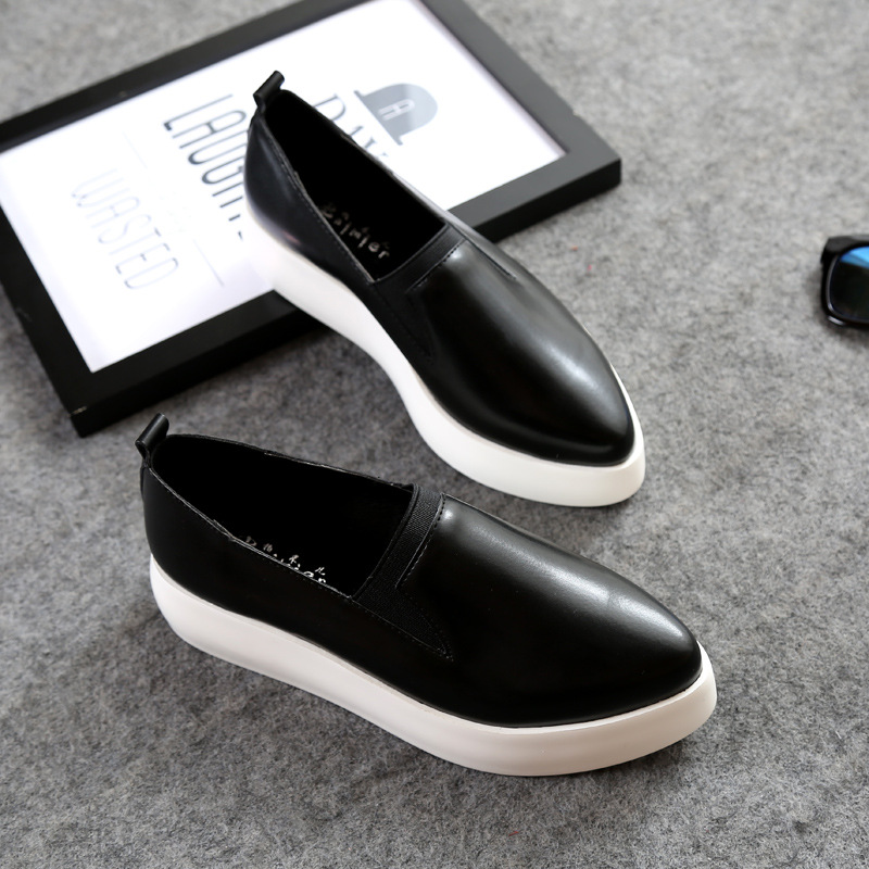 2017 Spring Women Flats PU Leather Shoes Woman Pointed Toe Slip On Platform Loafers Woman Creepers Casual Shoes Size 35~40 plue size 34 49 spring summer high quality flats women shoes patent leather girls pointed toe fashion casual shoes woman flats