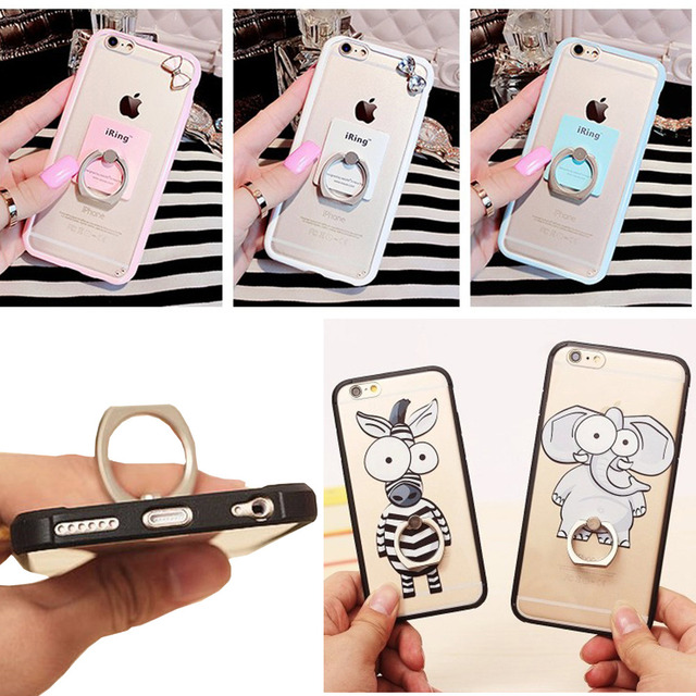 For Iphone 6 6s Soft Silicon Ring Stand Back Phone Cover