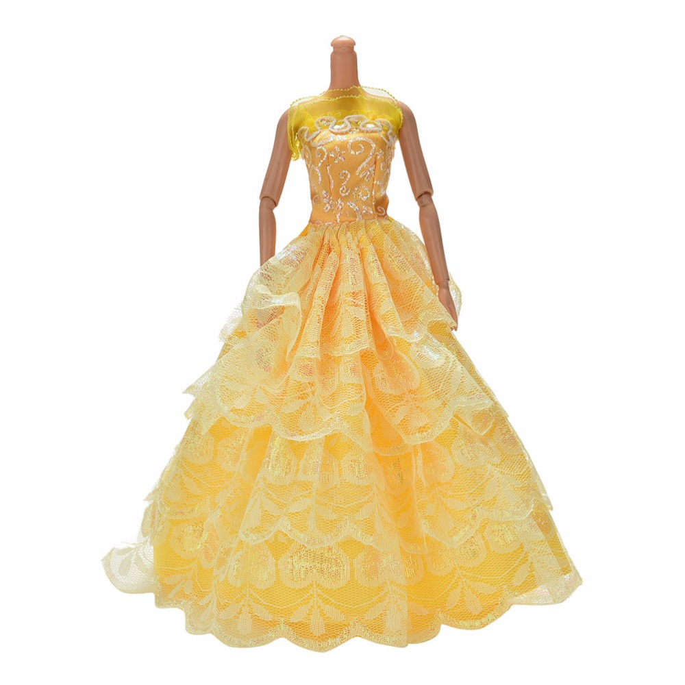 1 Pc 2016 Elegant Wedding Dress for Barbies Fashion Girl Baby Doll Toy Accessories Dresses Clothing