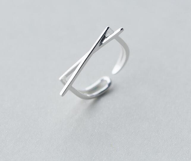 Women's Real. 925 Sterling Silver Jewelry Crossed Geometric RING Adjustable GTLJ1239