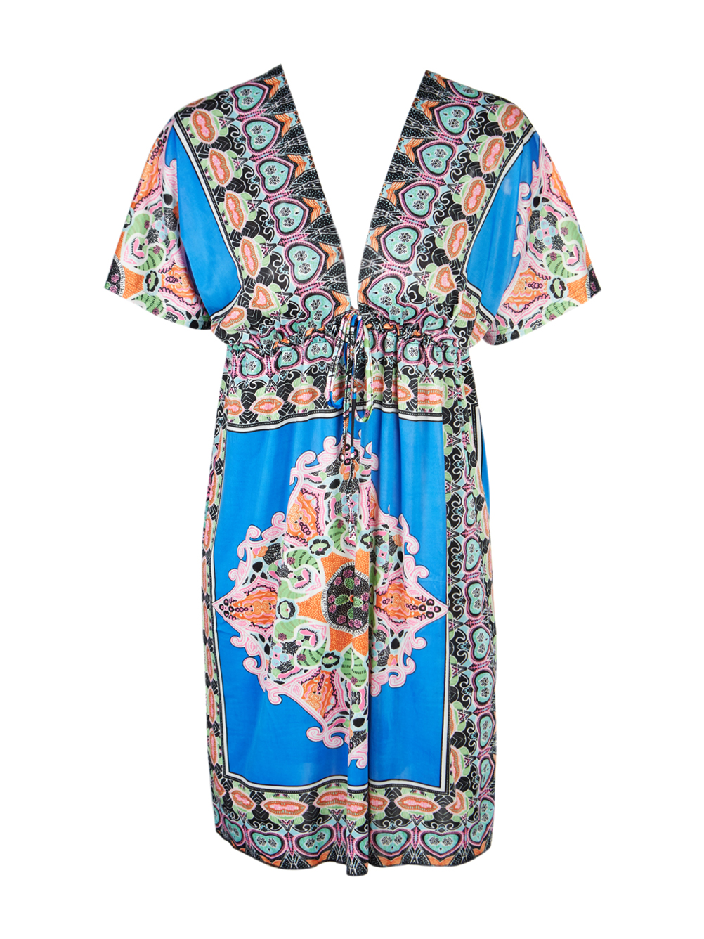6cd87cc470d Women Sexy V-Neck Boho Summer Floral Tunic Beach Midi Dress Colorful Tribal  Dress Pattern New Arrivals Women Dresses 2016