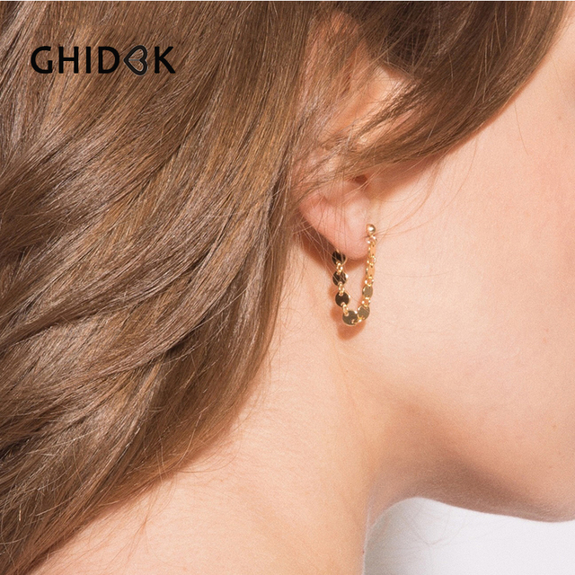 6fd4b8cb25b6a US $1.39 30% OFF GHIDBK Gold Sliver Color 4mm Ball Coin Chain Stud Earrings  for Women Simple Small Disc Earrings Minimalist Ear Cuff Earrings-in Stud  ...