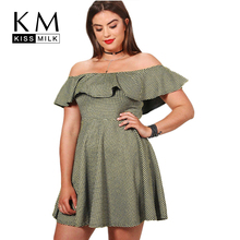 Kissmilk Plus Size Women Clothing Sexy Slash Neck Ruffles Plaid Elegant Summer Dress Vestido 4XL 5XL 6XL