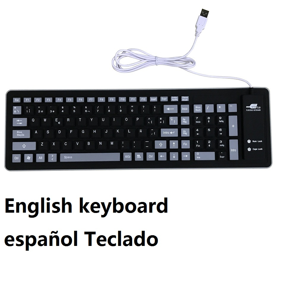 English Keyboard Spanish Keyboard 103 Key Compact USB Soft Silicone Waterproof Keyboard For PC Laptop