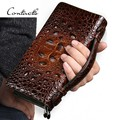 CONTACT'S Fashion Luxury Alligator Leather Men Brown Clutch Bag Genuine Leather Double-Zip Around Business Clutch Bags