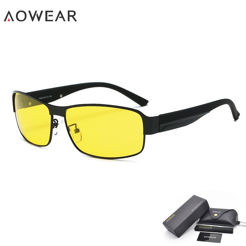 AOWEAR Hd очки для вождения с ночным видением, желтые солнцезащитные очки, мужские поляризованные очки для ночного вождения, очки для вождения, снижают ослепление - Цвет линз: 1 Black Night Vision