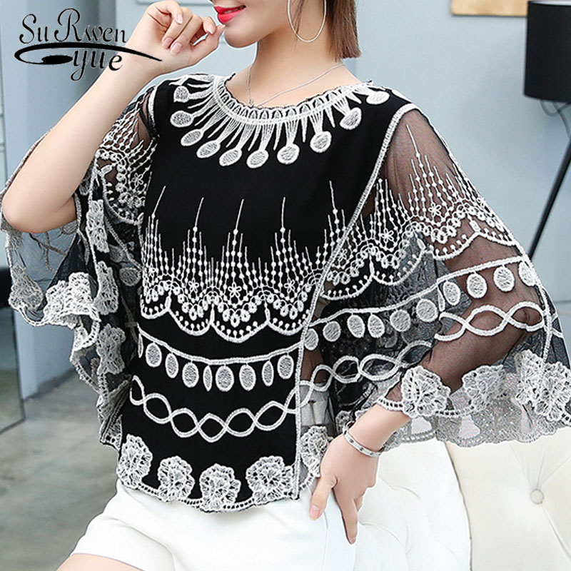 Women Lace One Size Shirt 2019 Summer O Neck Printing Lace Shirt Female Knit Hollow Flower Blouse Women Tops And Blouses 4015 50