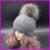 Inverno Pele De Guaxinim Pompom Bobble Chapéus Para As Mulheres Torção de Malha Skullies Gorros De Lã Cashmere Mistura