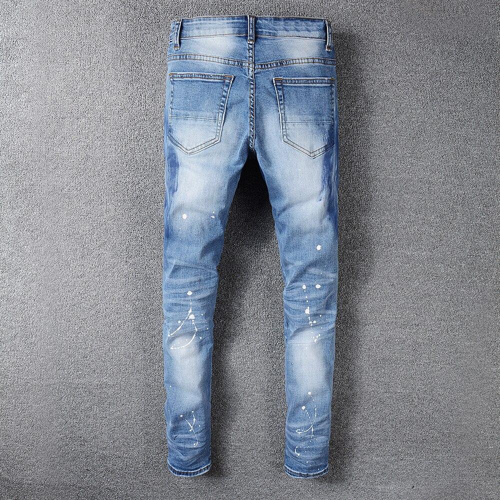 Sokotoo mannen rhinestone crystal patchwork lichtblauw ripped jeans Slim fit skinny stretch denim broek-in Spijkerbroek van Mannenkleding op AliExpress - 11.11_Dubbel 11Vrijgezellendag 2