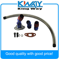 "STAINLESS BRAIDED TURBO CHARGER/TURBO 17"" OIL RETURN DRAIN LINE+10AN FITTING KIT"