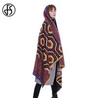 FS Banket Scarf Shawl Wrap Oversize For Lady Winter Scarves Women 2018 Printed Geometric Pattern Pashmina Tassel Female Poncho