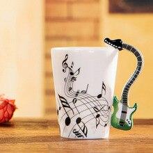 2017! 12 tipos de la guitarra creativa taza de cerámica de la personalidad de la música nota lemon jugo leche drinkware taza de café taza de té de la oficina en casa o-z
