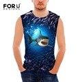 Forudesigns 2017 nova verão 3d tubarão golfinho tanque impressão encabeça parte superior do tanque de musculação longarina man clothing coletes sem mangas dos homens