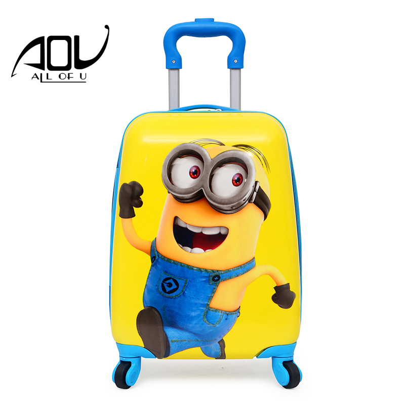 AOU 6 color Kid's Cartoon Travel Trolley Bags boys rolling luggage Lovely princess Wheels Suitcase for Kids Children Luggage