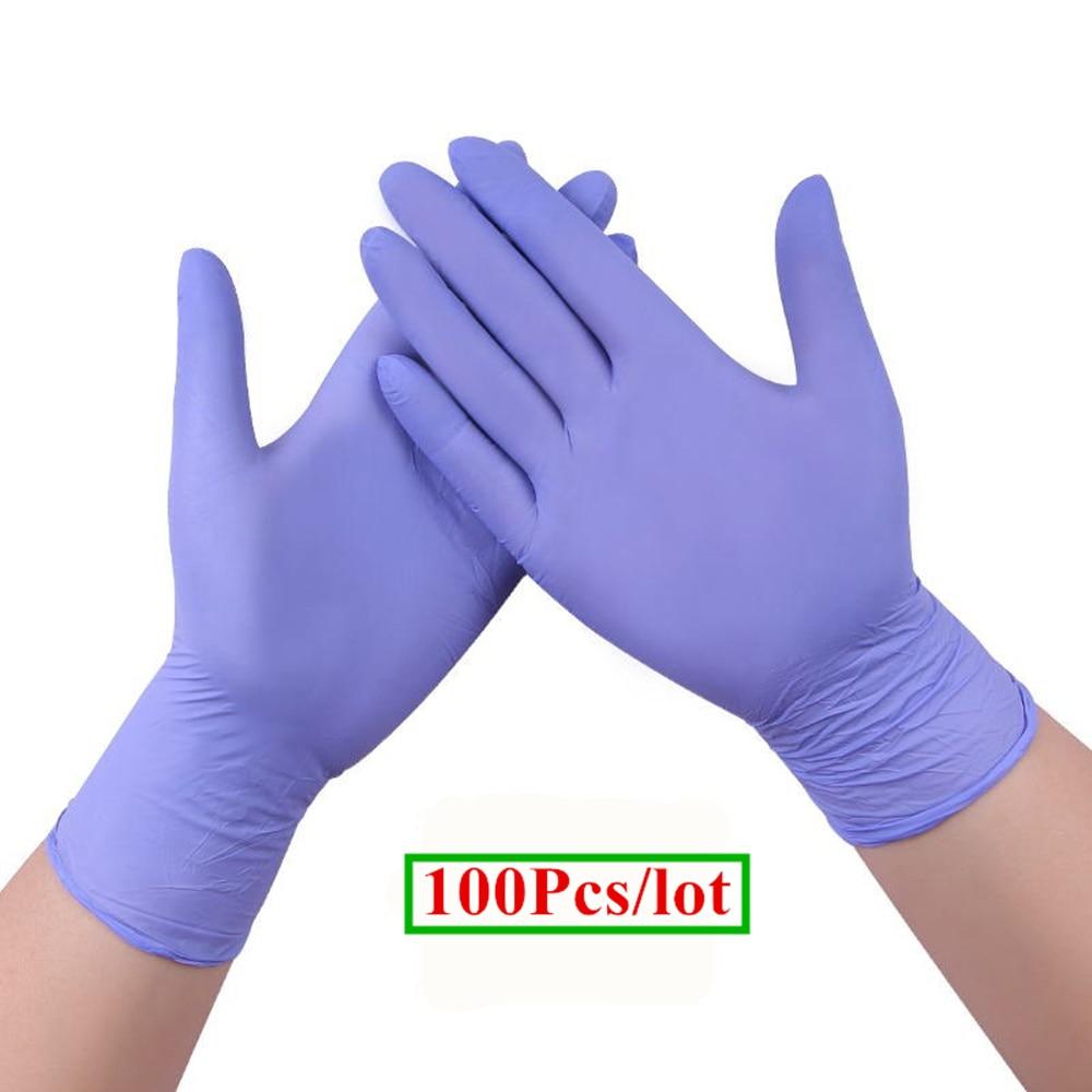 100Pcs/lot Nitrile Glove - Medical Grade, Powder Free, Latex Rubber Free, Disposable, Non Sterile, Food Safe, Indigo (purple) стоимость
