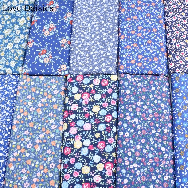 3 Tamaños Floral Azul Blanco Rosa Flores 100/% algodón de alta calidad de material de tela