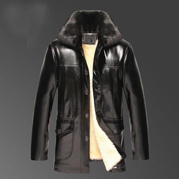 2017 Nieuwe collectie winter beroemde merk mens casual faux lederen jassen en jassen met grote bontkraag Plus fluwelen voering bont een-in Kunstleerjassen van Mannenkleding op  Groep 2
