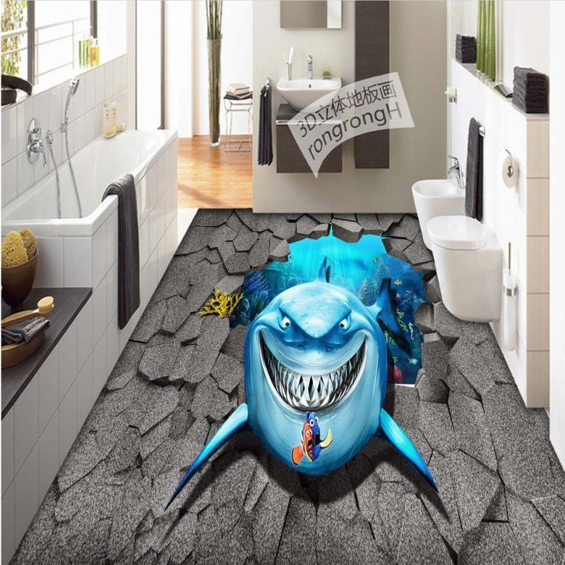 Free Shipping HD marine shark 3D floor painting wear non-slip thickened bathroom kitchen living room bedroom flooring mural free shipping realistic large pond carp floor 3d wear non slip thickened kitchen living room bathroom flooring wallpaper mural