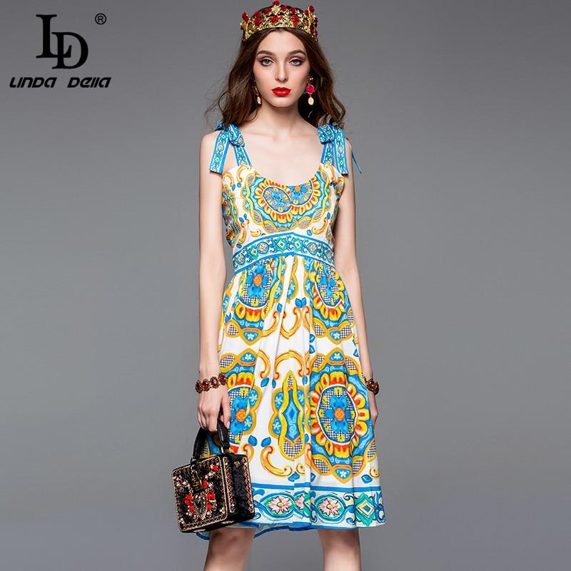 LD LINDA DELLA 2019 Fashion Runway Summer Dress Women s Spaghetti Strap Floral Print Casual Slim