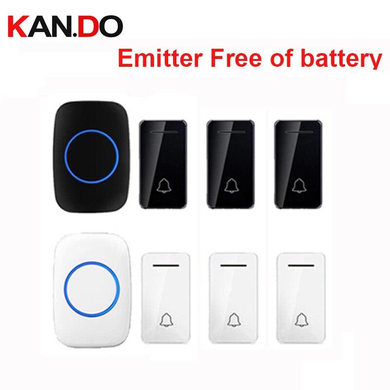 Wholesales 3 Transmitter Wireless Door Bell Emitter Free Of Battery Wireless Doorbell Ip44 200M Work Chime Door Ring 110-240V
