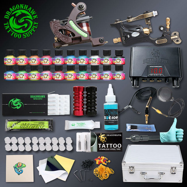 Professional Tattoo kit 2 pcs Rotary Tattoo Machines 20 Immortal Inks Tattoo Power Supply Tattoo Accessories