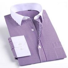 Men's Slim Fit Shirt Casual Business Elegant Formal Shirt For Men Social stitching collar stripes Men's Long Sleeve Dress Shirt