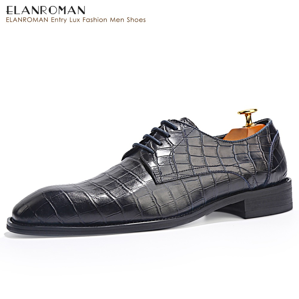 ELANROMAN Men dress shoes genuine leather black Navy italian fashion business oxford Derby shoes 2017