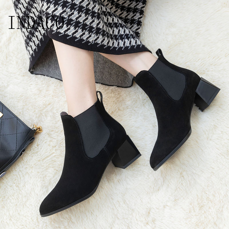Women Chelsea Boots Winter Fashion Ankle for 5cm