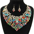 2017 New Wedding Jewelry Gold&Silver Plated Full Crystal Rhinestone Necklace Set Classic African Bridal Jewelry Sets XN-G39