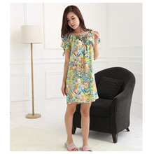 Silk Nightgown 1pc Free shipping 100% Pure Mulberry Floral Classic Nightwear Soft Sleepwear Summer Dress Multicolor Size