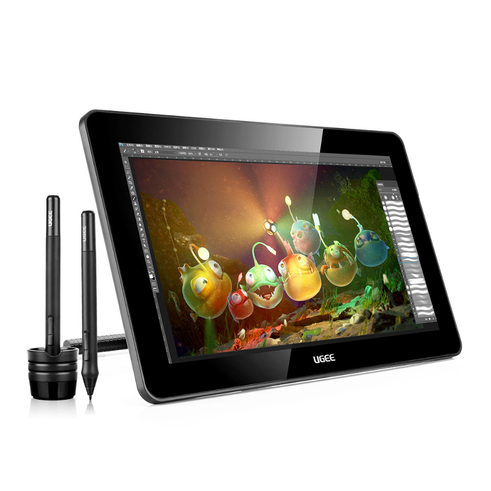 Ugee HK1560 15.6 Inches IPS Screen HD Resolution Graphics Monitor Drawing Display 1920 x 1080 With 2x Rechargeable Pen xp pen artist22e fhd ips pen display monitor graphics drawing tablet with 16 express keys