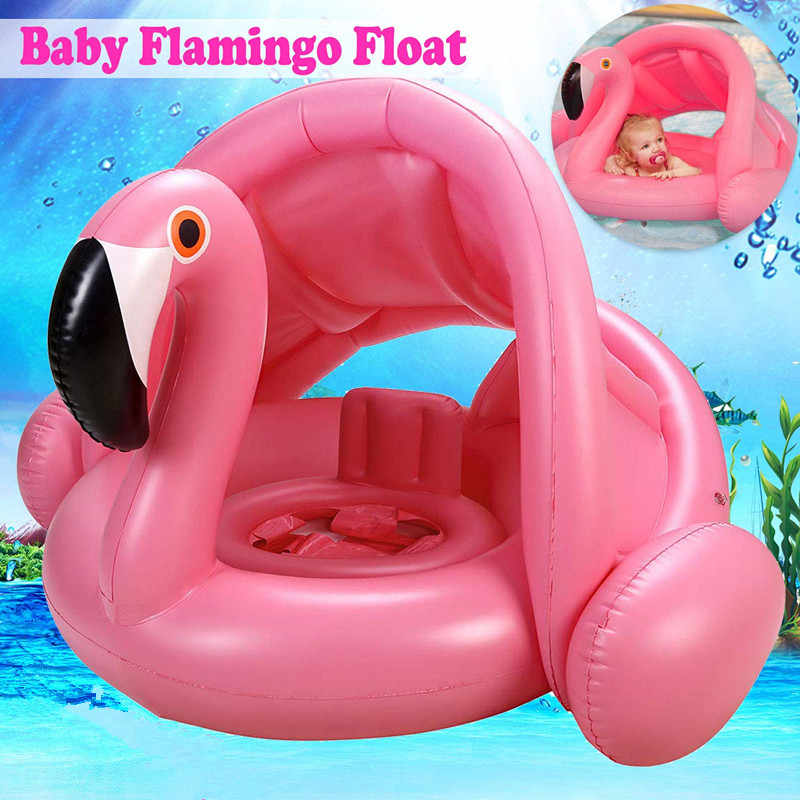 Baby Awning Floating Swimming Seat Ring Flamingo Infant Thickened Inflatable Swim Lifebuoy Float Swimming Pool Beach Accessories