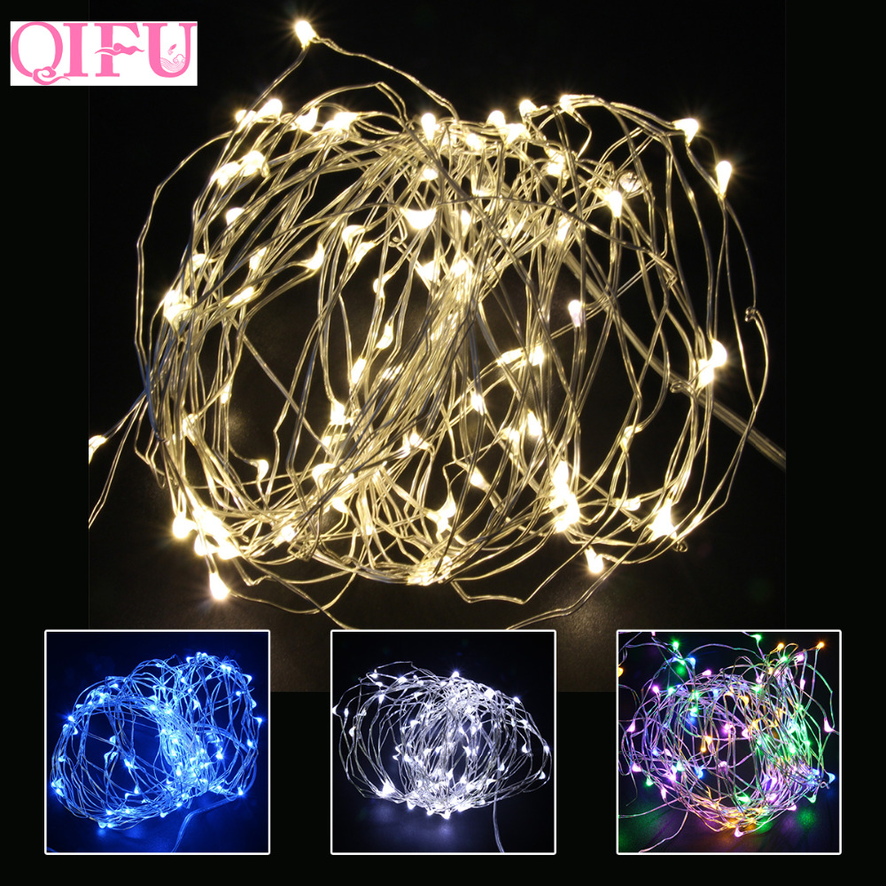 QIFU Led Copper Wire String Lights Battery Birthday Party Decor String Fairy Light Romantic Wedding Party Decoration DIY Light