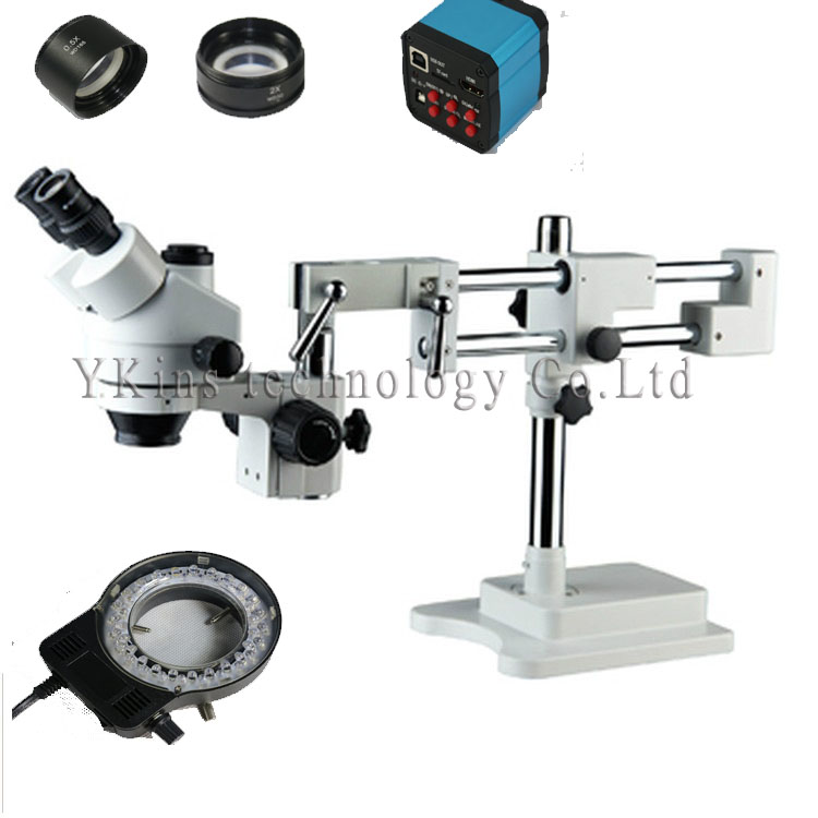 где купить Continue 3.5X-90X Simul-focal Trinocular Stereo Zoom Microscope with Double Arm Boom Stand with 14MP HDMI camera for LAB/PCB по лучшей цене