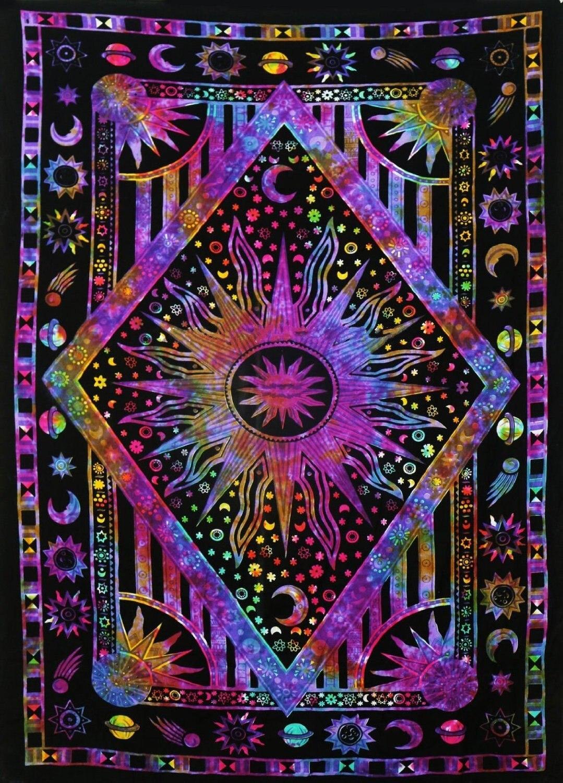 Hippie Hippie Psychedelic Celestial Mandala Mond Sonne Wandteppich Hängen Große Indische Böhmischen Hippie Wandteppiche Tuch Decor